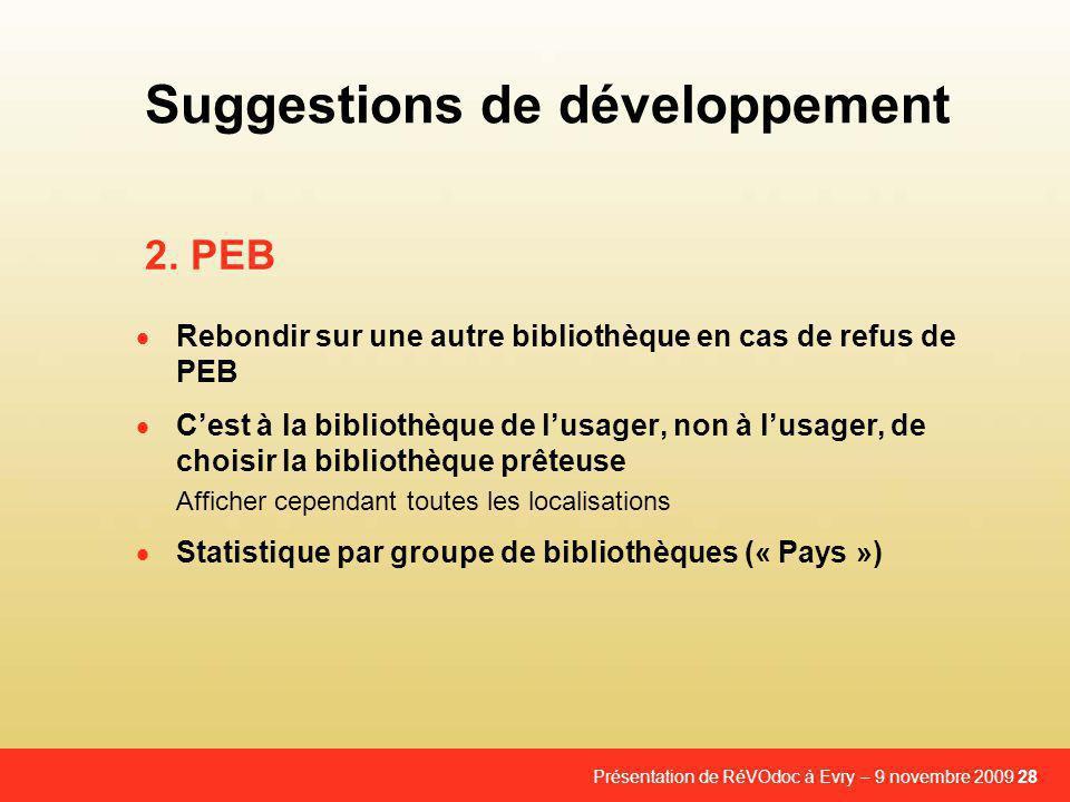 Suggestions de développement
