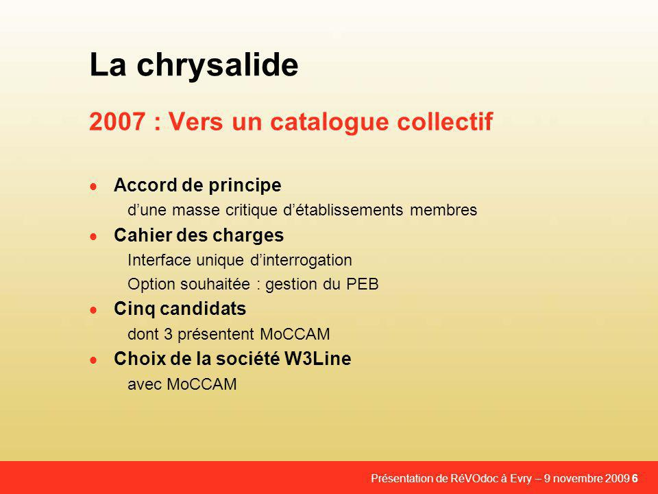 2007 : Vers un catalogue collectif