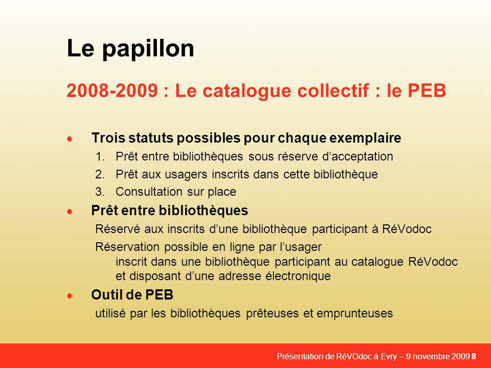2008-2009 : Le catalogue collectif : le PEB