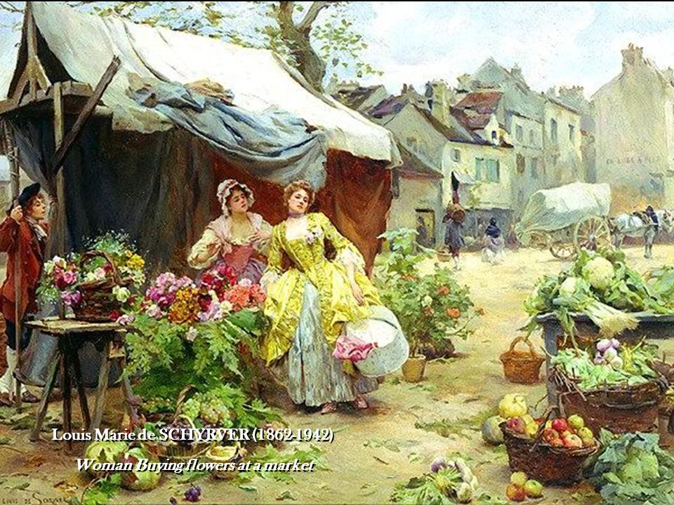 Louis Marie de SCHYRVER (1862-1942) Woman Buying flowers at a market