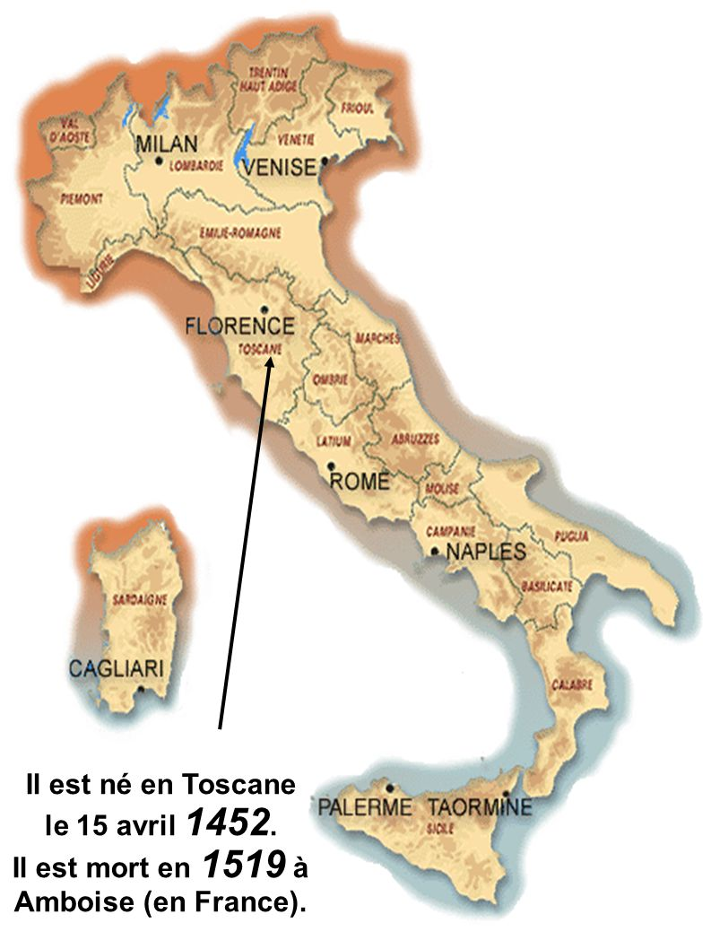 Il est né en Toscane le 15 avril 1452. Il est mort en 1519 à Amboise (en France).