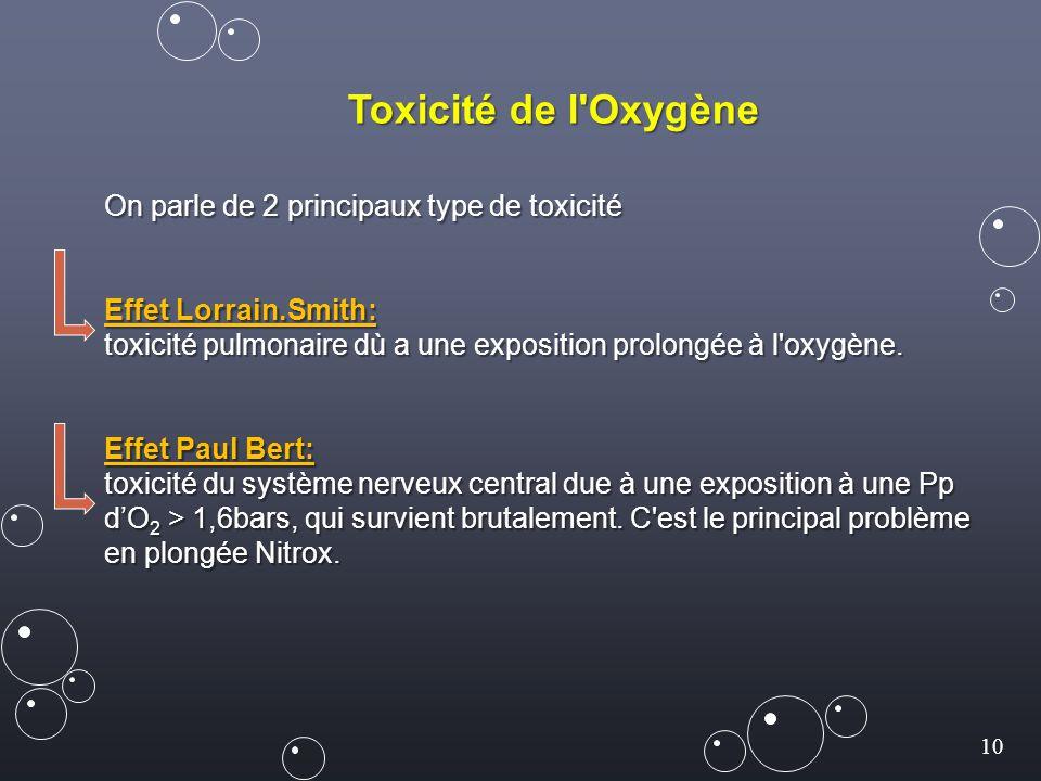 Toxicité de l Oxygène On parle de 2 principaux type de toxicité