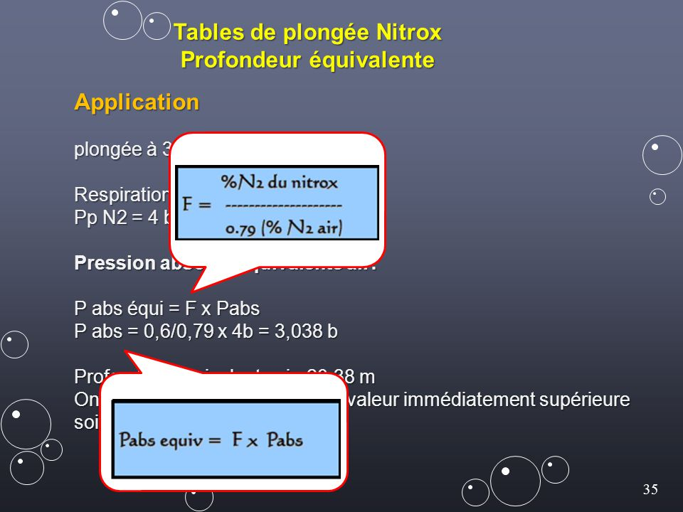 Tables de plongée Nitrox Profondeur équivalente