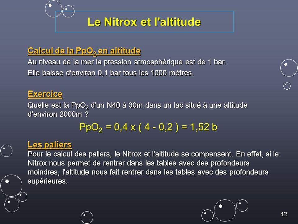 Le Nitrox et l altitude PpO2 = 0,4 x ( 4 - 0,2 ) = 1,52 b