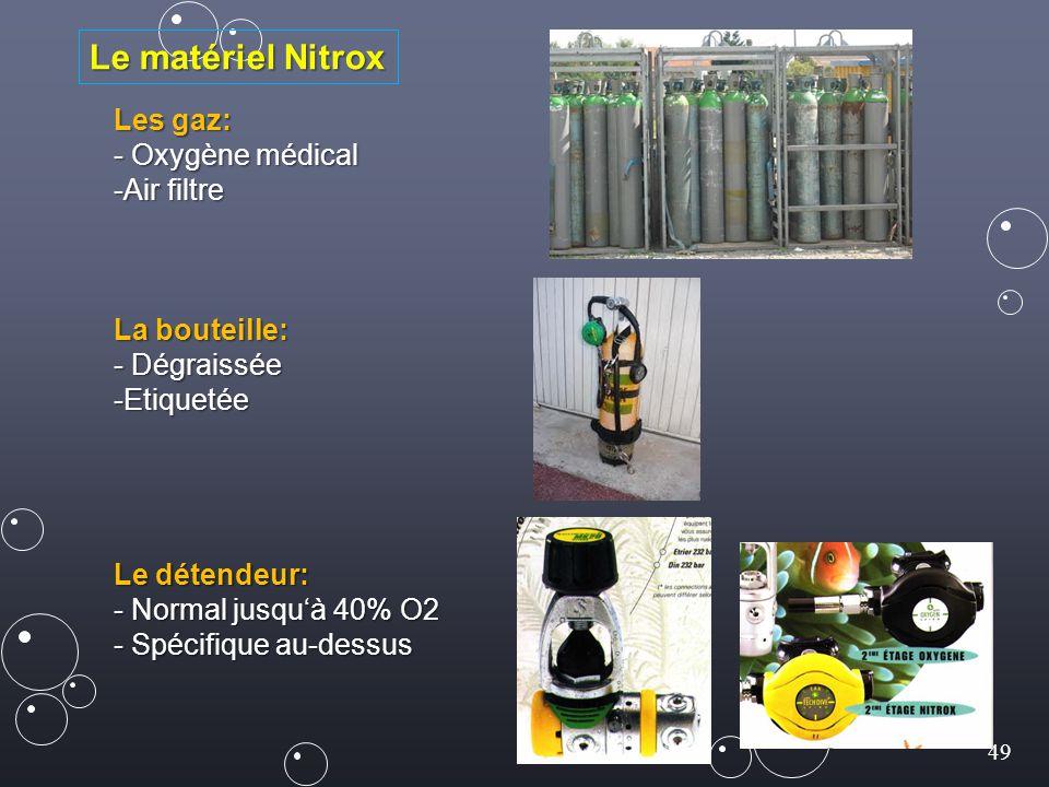 Le matériel Nitrox Les gaz: - Oxygène médical Air filtre La bouteille: