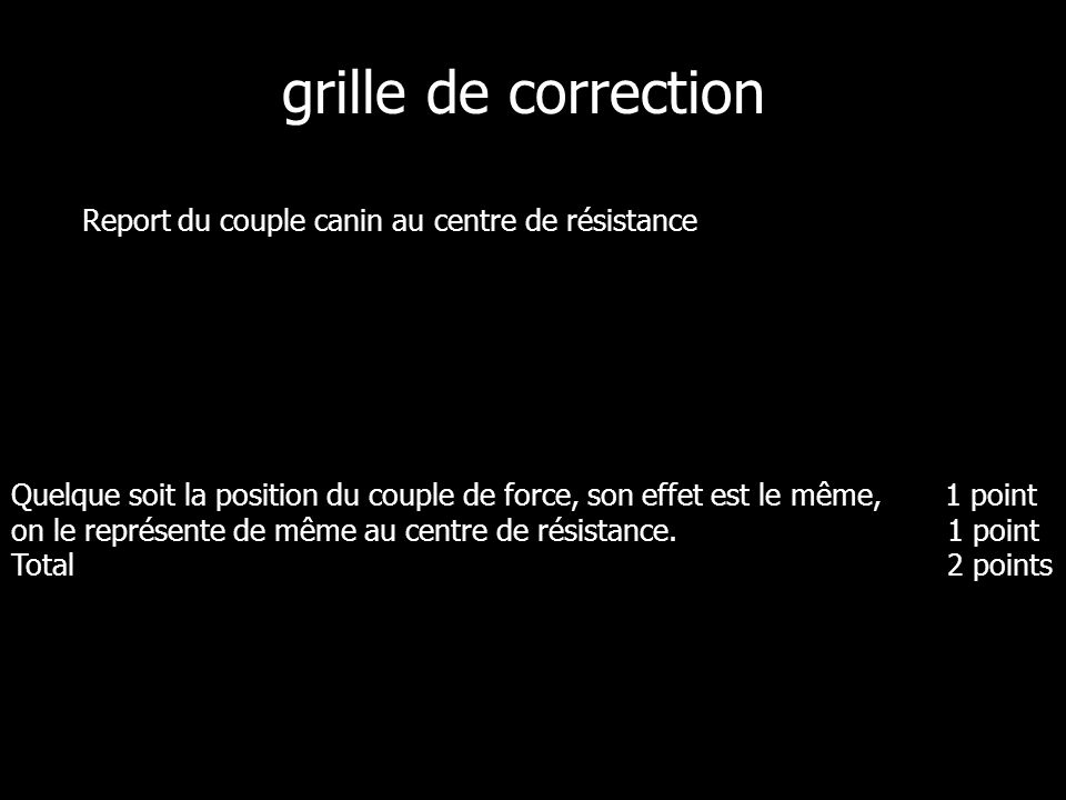 grille de correction Report du couple canin au centre de résistance