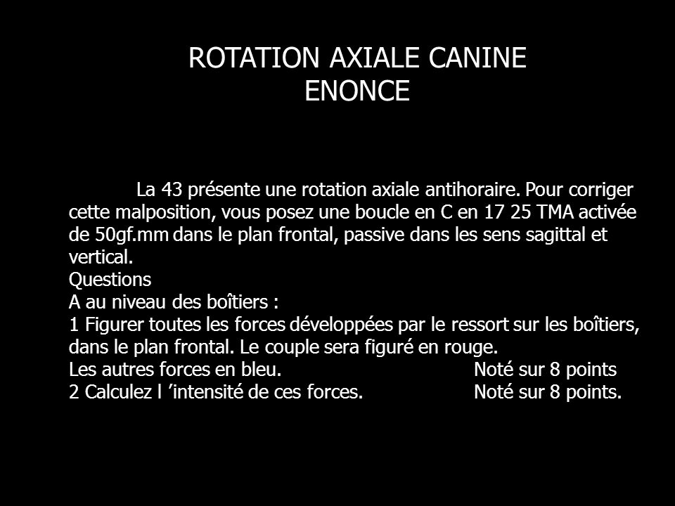 ROTATION AXIALE CANINE ENONCE