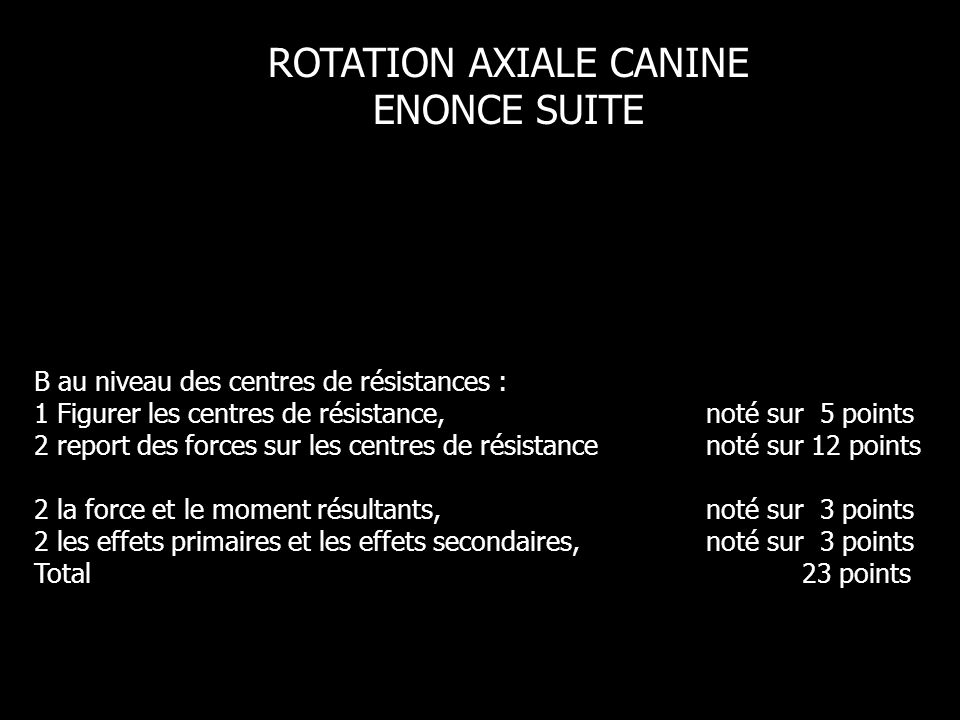 ROTATION AXIALE CANINE ENONCE SUITE