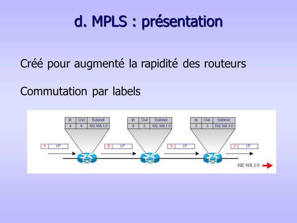 d. MPLS : présentation Créé pour augmenté la rapidité des routeurs