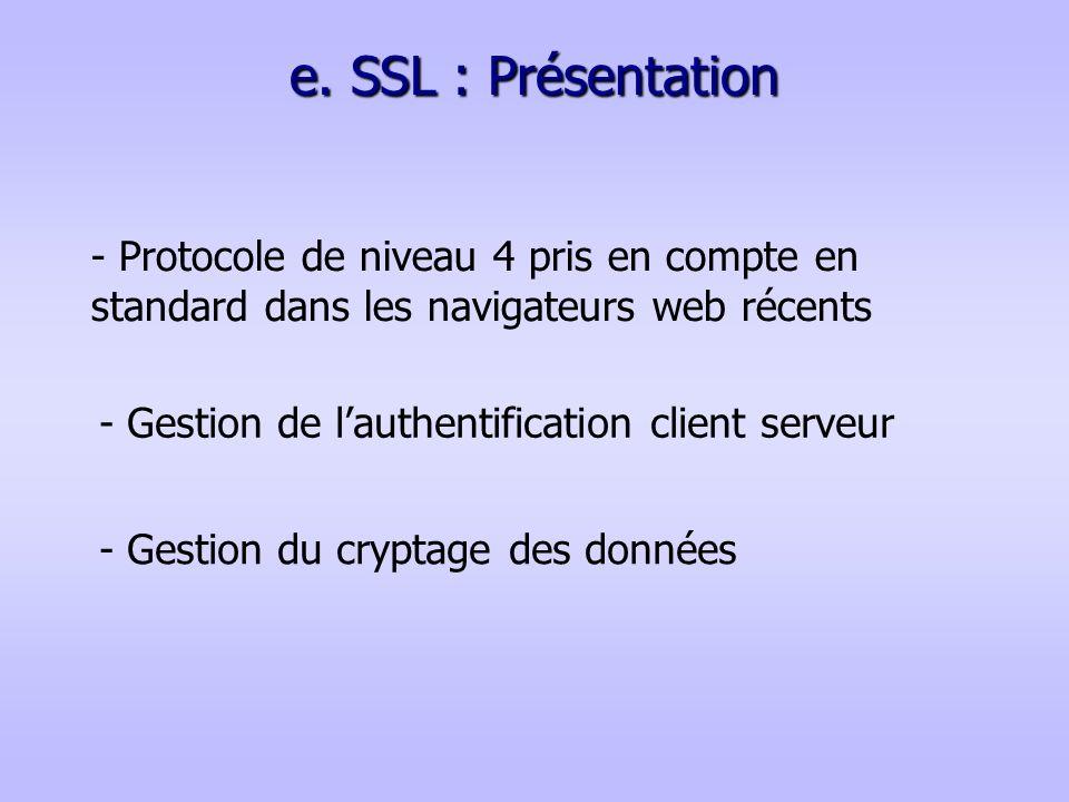 e. SSL : Présentation - Protocole de niveau 4 pris en compte en standard dans les navigateurs web récents.