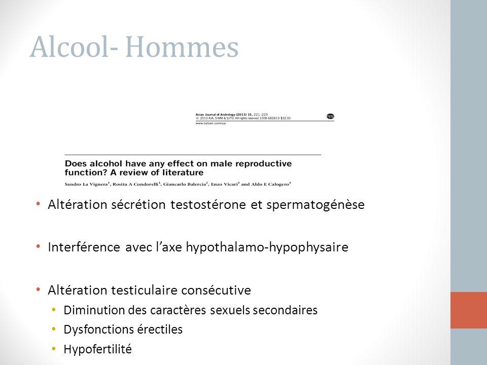 Alcool- Hommes Altération sécrétion testostérone et spermatogénèse
