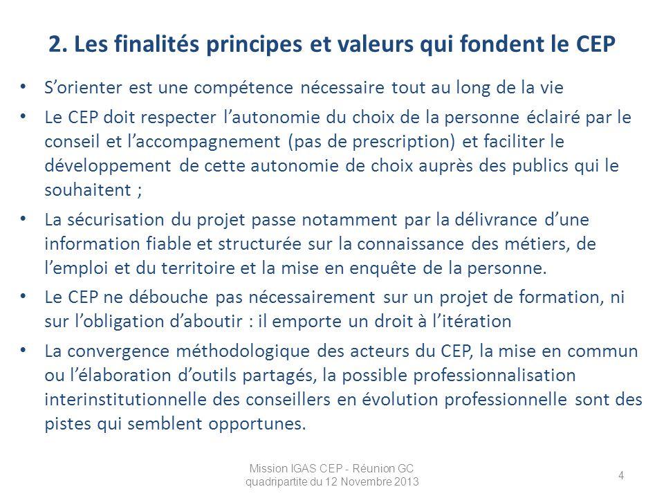 2. Les finalités principes et valeurs qui fondent le CEP