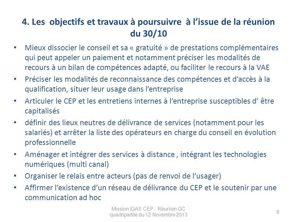 Mission IGAS CEP - Réunion GC quadripartite du 12 Novembre 2013