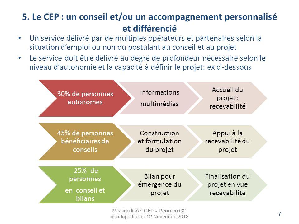 5. Le CEP : un conseil et/ou un accompagnement personnalisé et différencié
