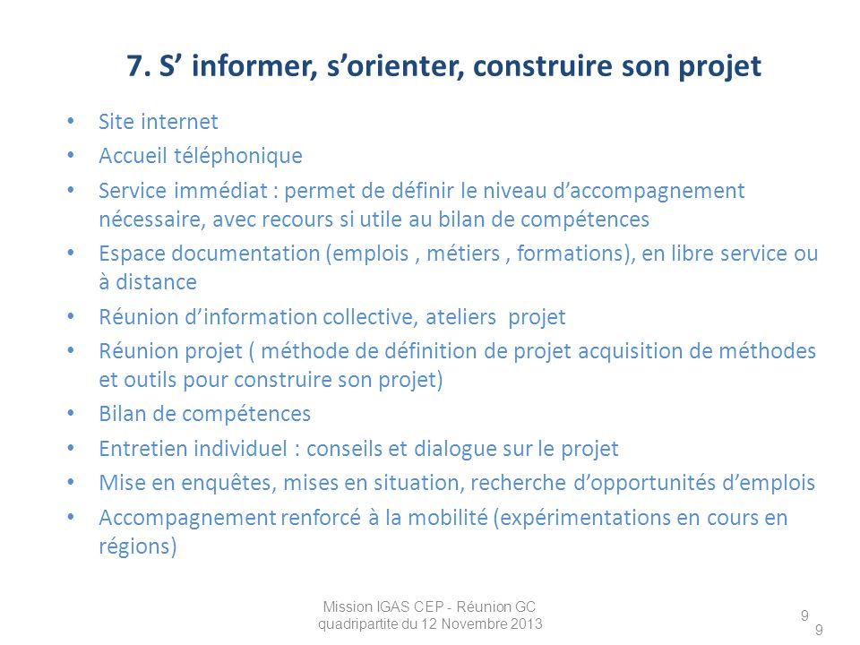 7. S' informer, s'orienter, construire son projet