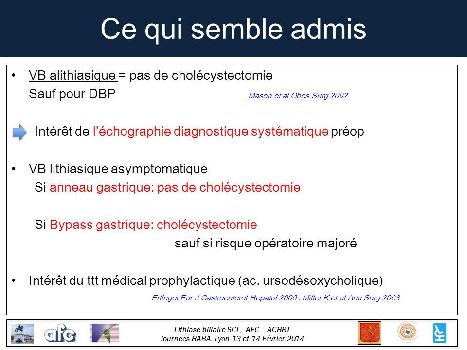 Ce qui semble admis VB alithiasique = pas de cholécystectomie