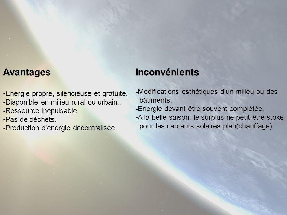 Avantages Inconvénients -Modifications esthétiques d un milieu ou des