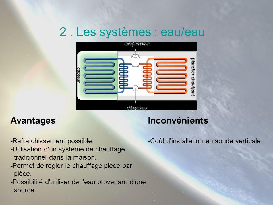2 . Les systèmes : eau/eau Avantages Inconvénients