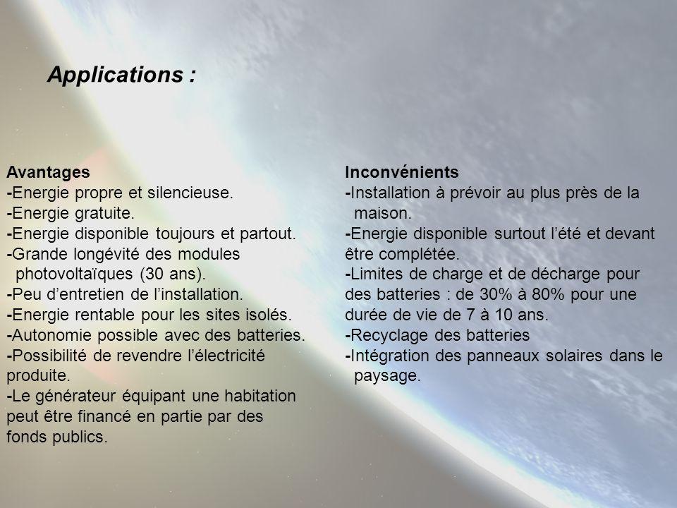 Applications : Avantages -Energie propre et silencieuse.