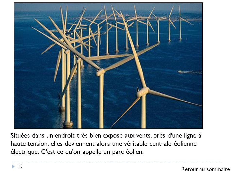Situées dans un endroit très bien exposé aux vents, près d une ligne à haute tension, elles deviennent alors une véritable centrale éolienne électrique. C est ce qu on appelle un parc éolien.