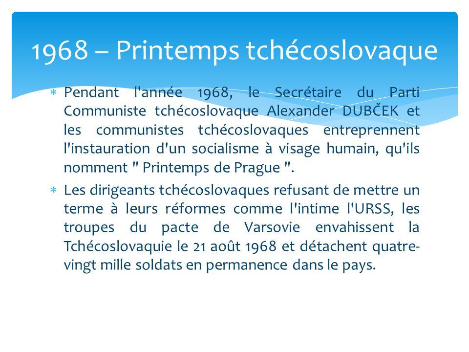 1968 – Printemps tchécoslovaque
