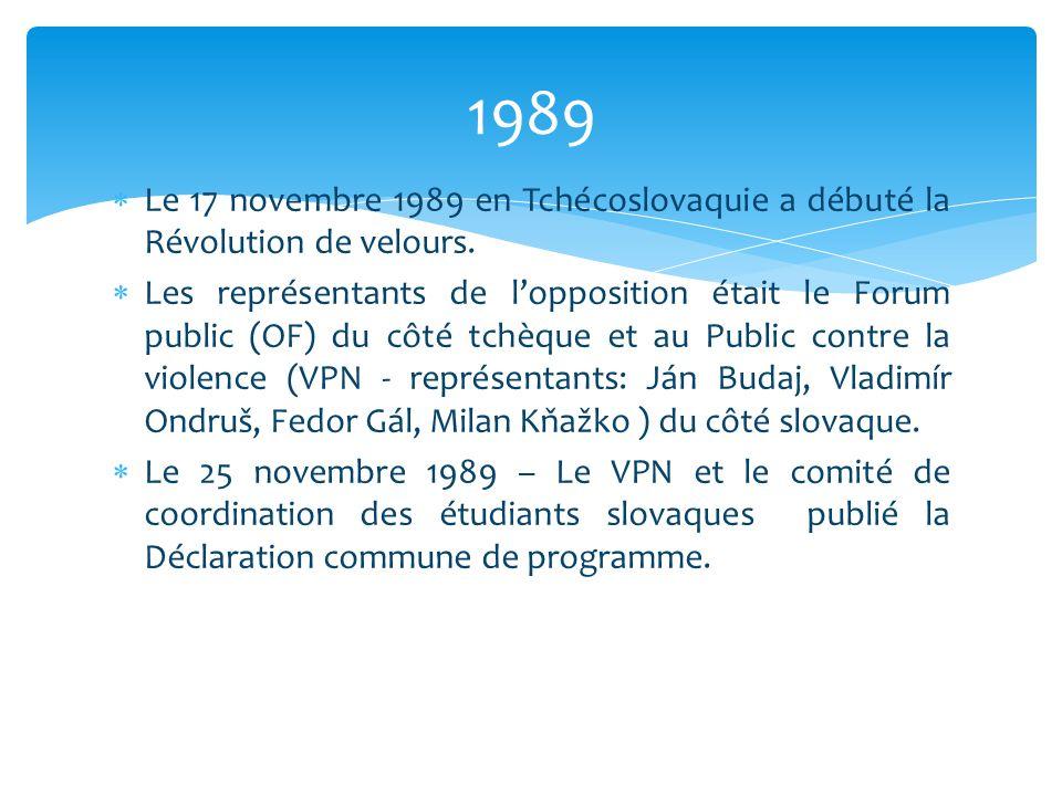 1989 Le 17 novembre 1989 en Tchécoslovaquie a débuté la Révolution de velours.