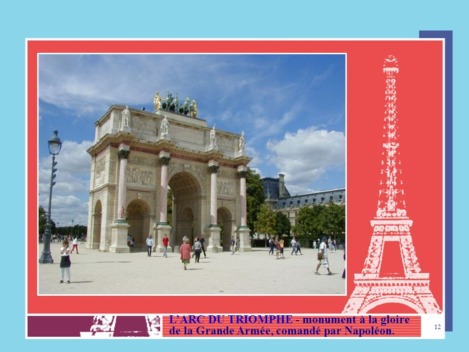 L'ARC DU TRIOMPHE - monument à la gloire de la Grande Armée, comandé par Napoléon.