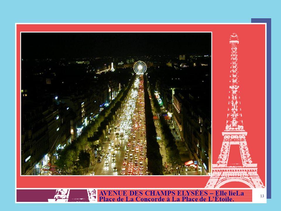 AVENUE DES CHAMPS ELYSÉES – Elle lieLa Place de La Concorde à La Place de L'Étoile.
