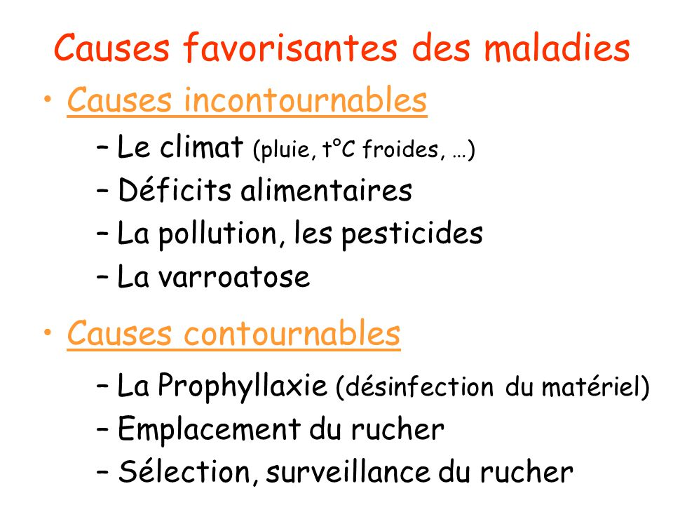 Causes favorisantes des maladies