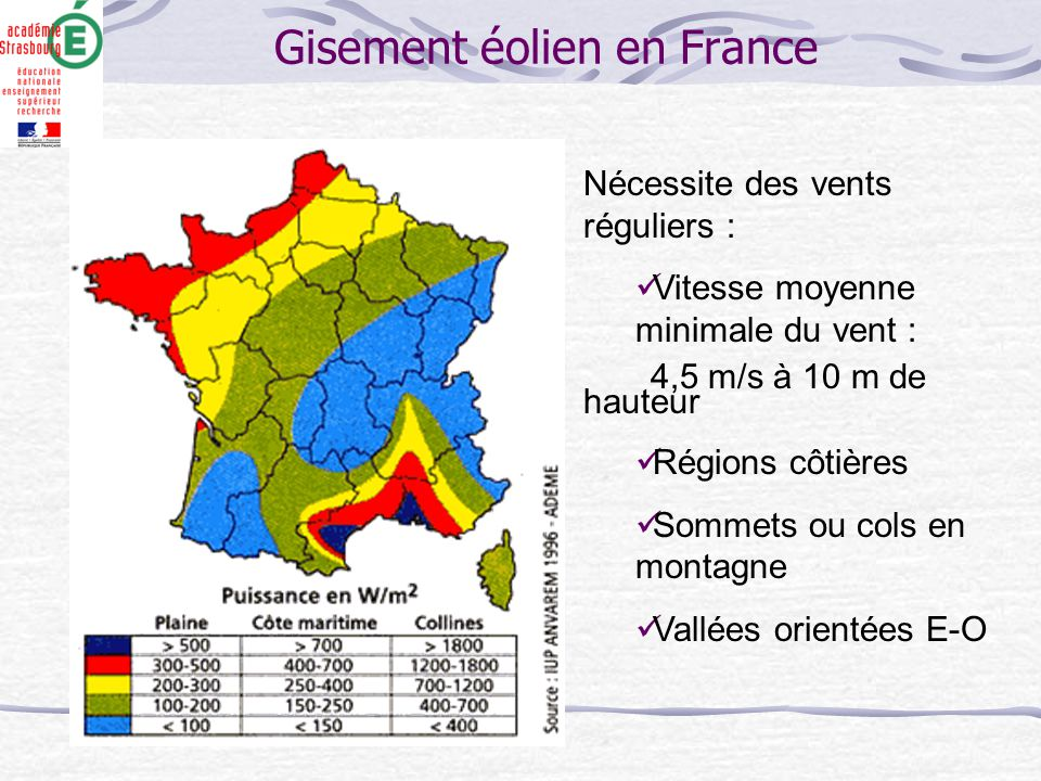 Gisement éolien en France