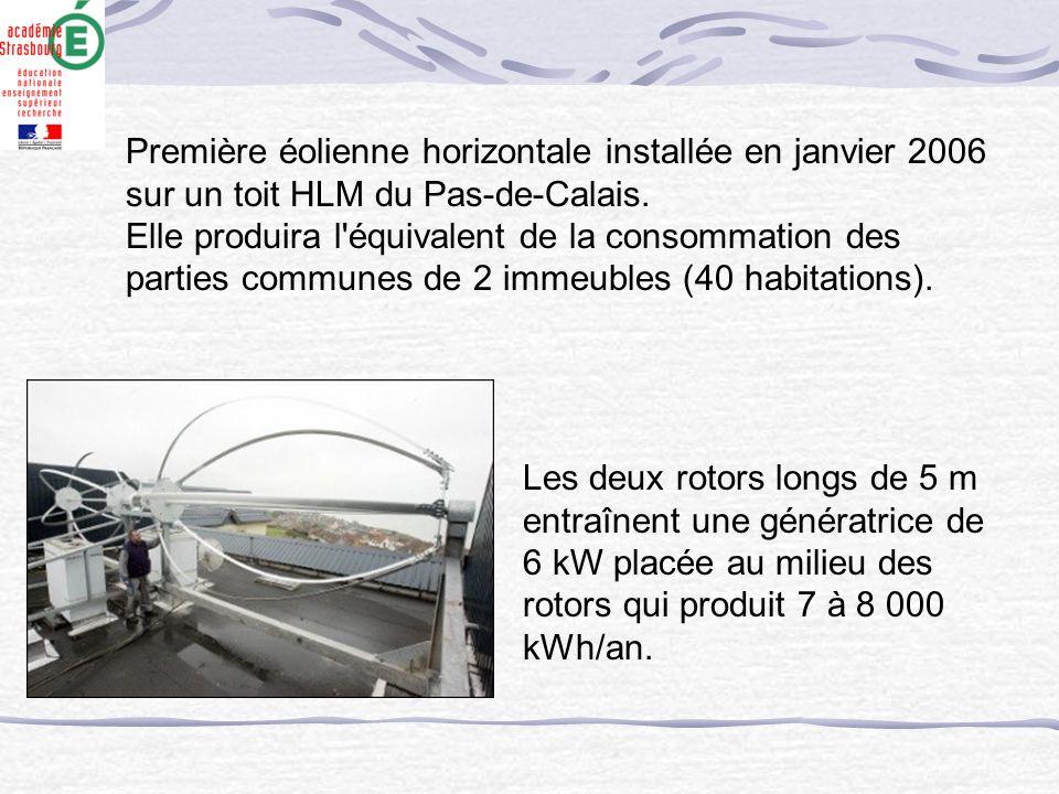 Première éolienne horizontale installée en janvier 2006 sur un toit HLM du Pas-de-Calais.