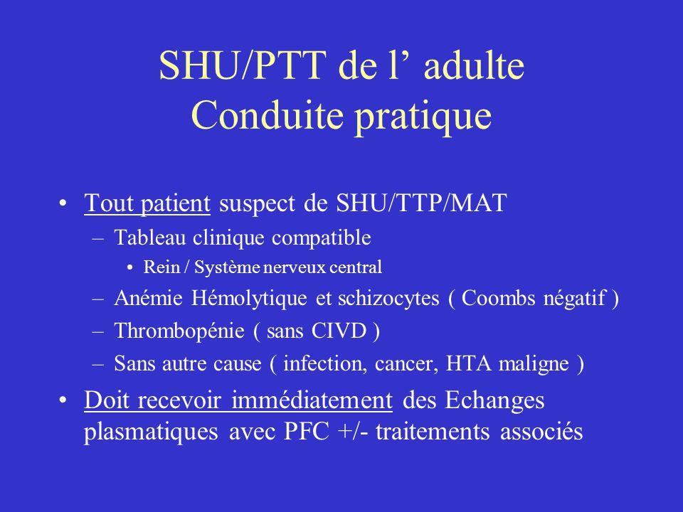 SHU/PTT de l' adulte Conduite pratique