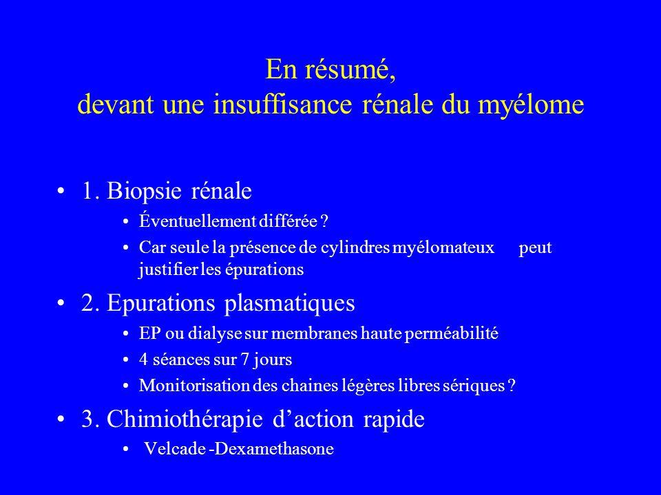En résumé, devant une insuffisance rénale du myélome