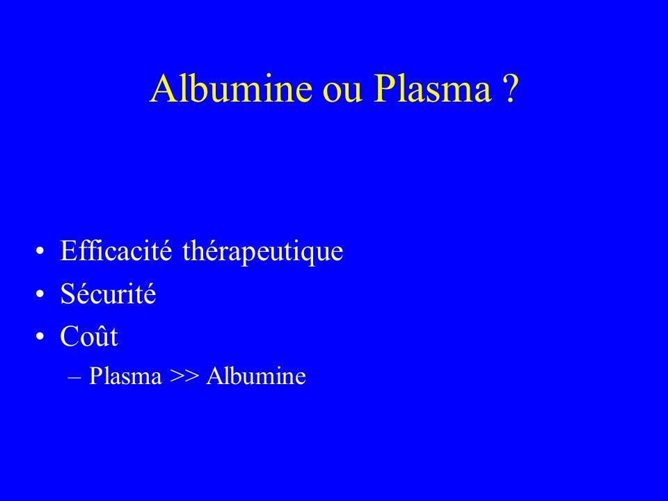 Albumine ou Plasma Efficacité thérapeutique Sécurité Coût
