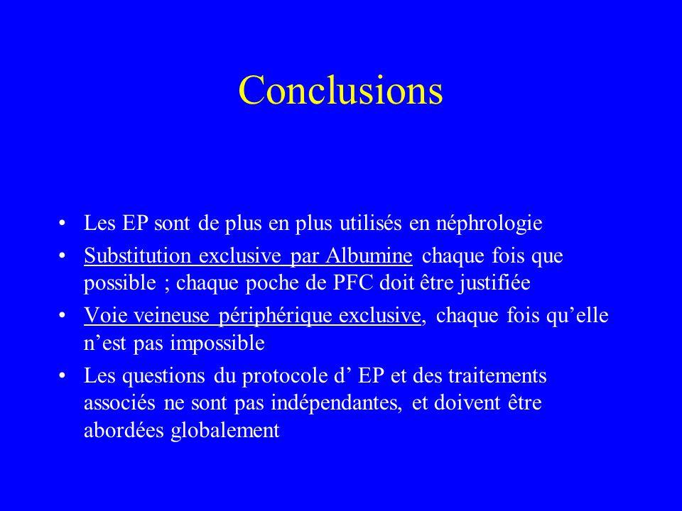 Conclusions Les EP sont de plus en plus utilisés en néphrologie