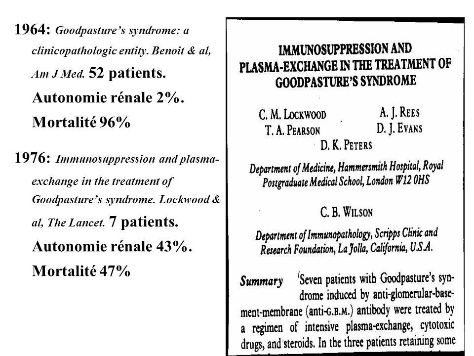 1964: Goodpasture's syndrome: a clinicopathologic entity