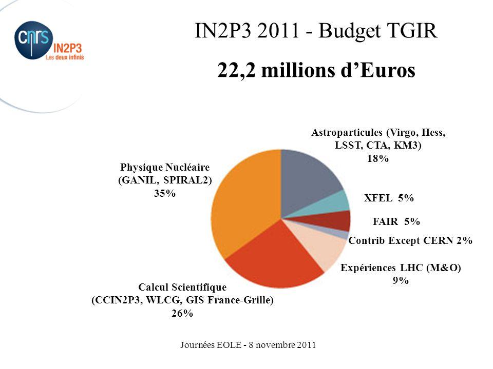 IN2P3 2011 - Budget TGIR 22,2 millions d'Euros