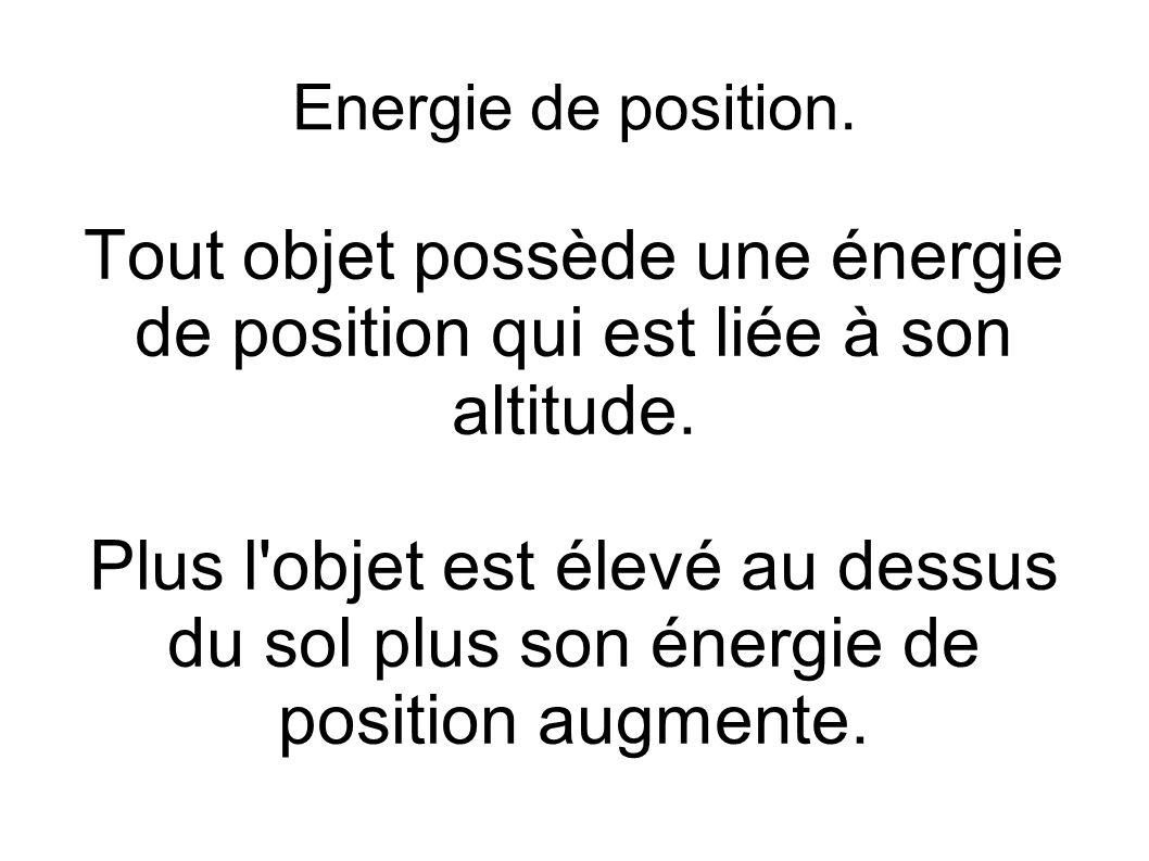 Energie de position. Tout objet possède une énergie de position qui est liée à son altitude.