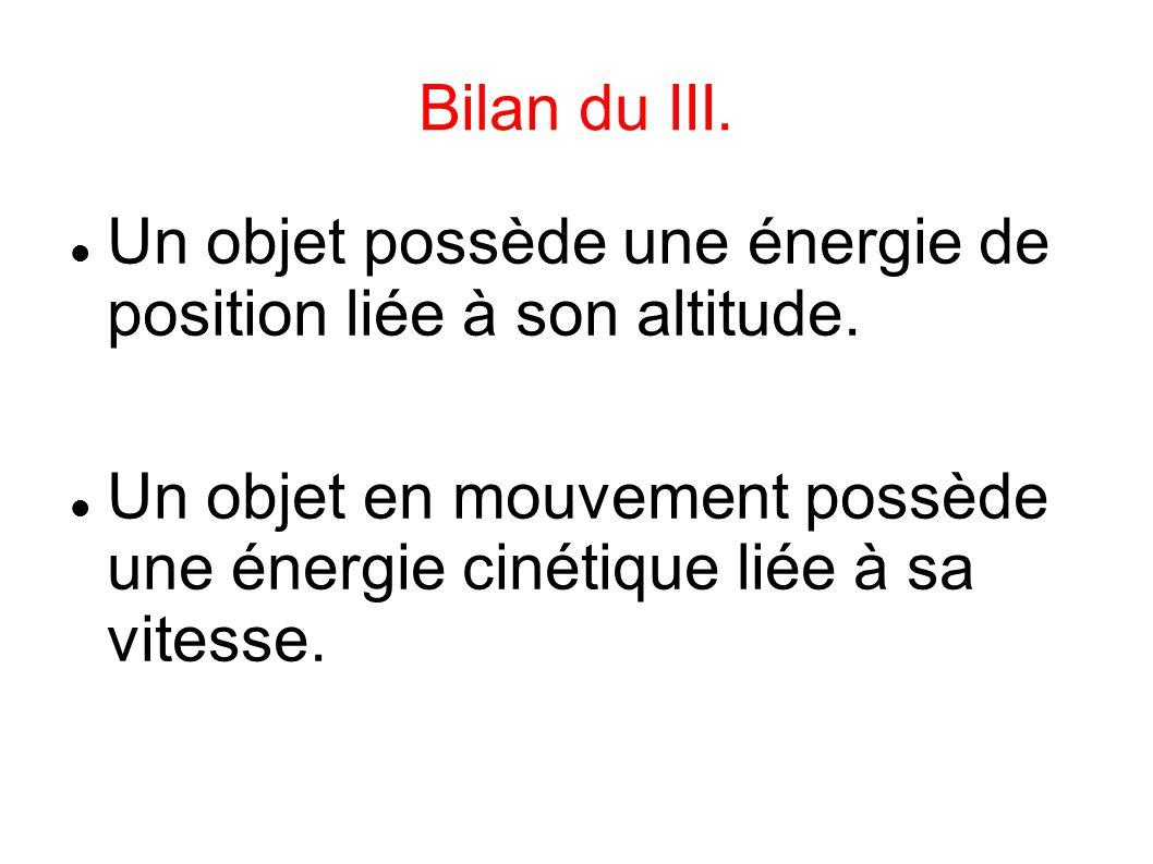 Bilan du III. Un objet possède une énergie de position liée à son altitude.
