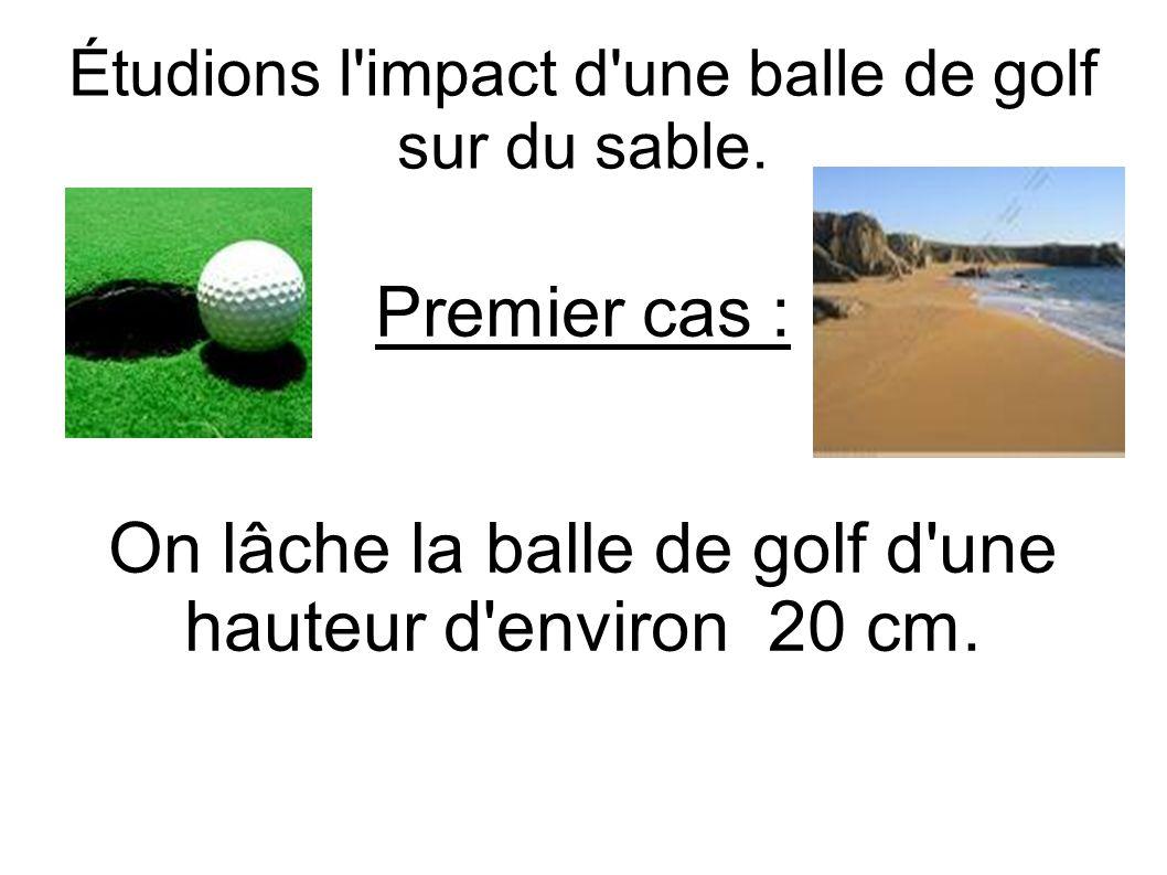 Étudions l impact d une balle de golf sur du sable.
