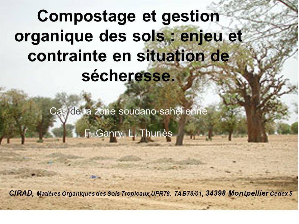 Compostage et gestion organique des sols : enjeu et contrainte en situation de sécheresse. Cas de la zone soudano-sahélienne F. Ganry, L. Thuriès