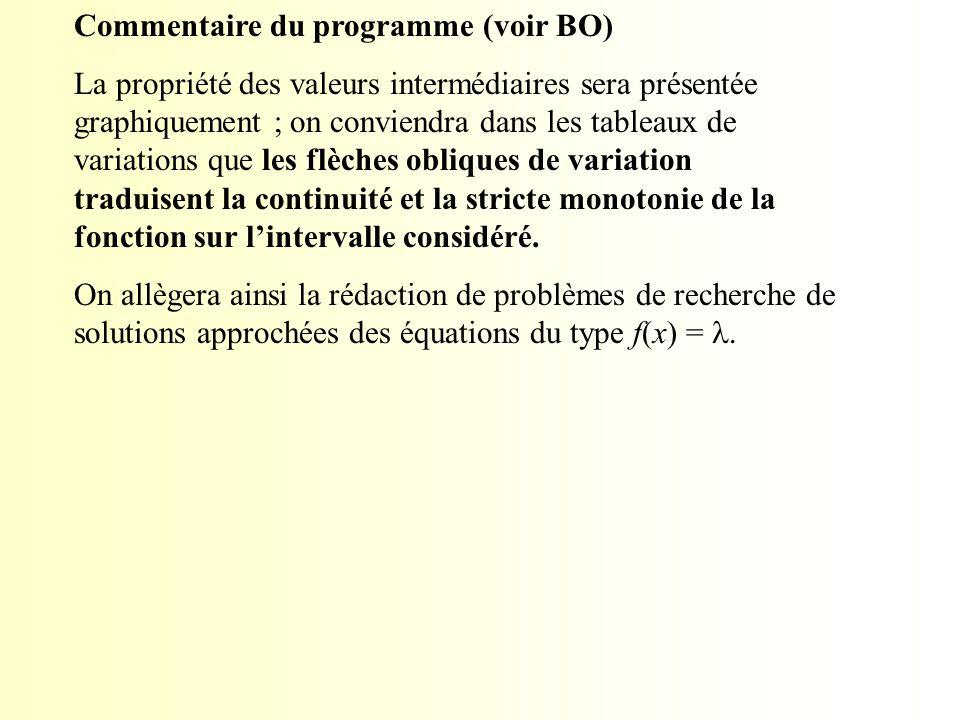 Commentaire du programme (voir BO)