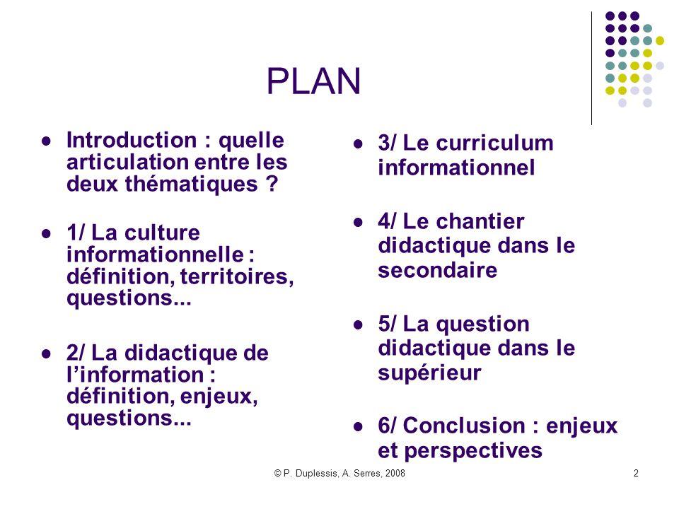 PLAN Introduction : quelle articulation entre les deux thématiques