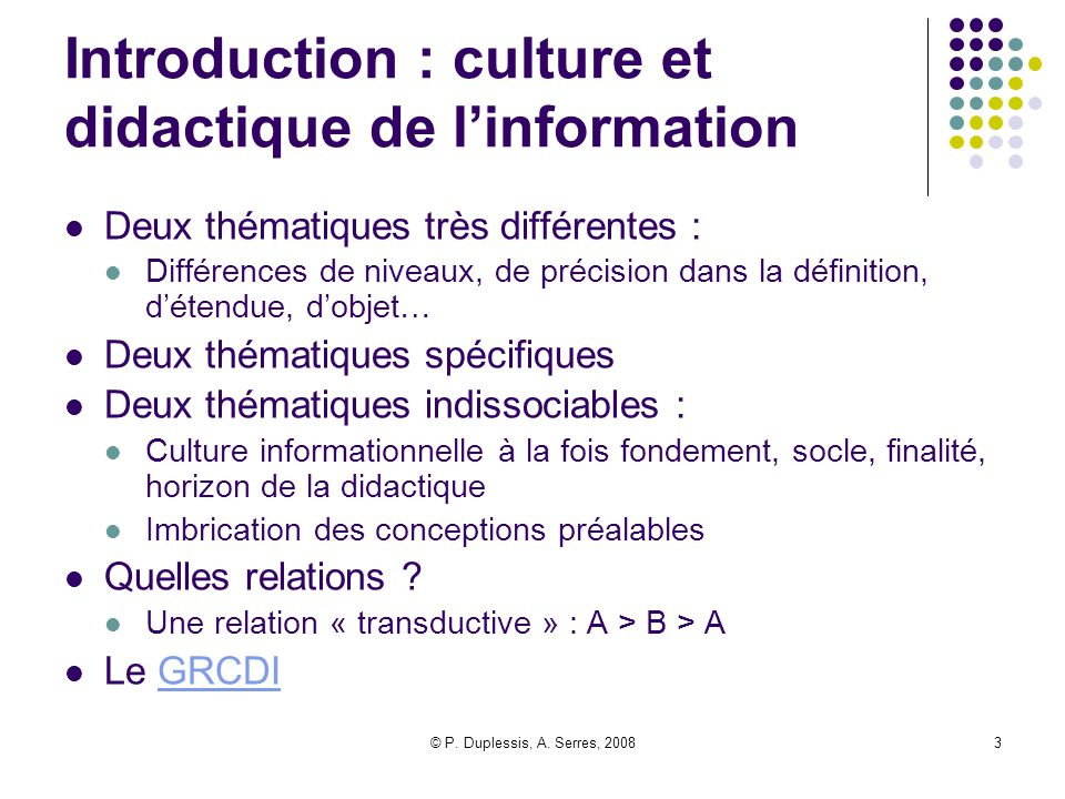 Introduction : culture et didactique de l'information