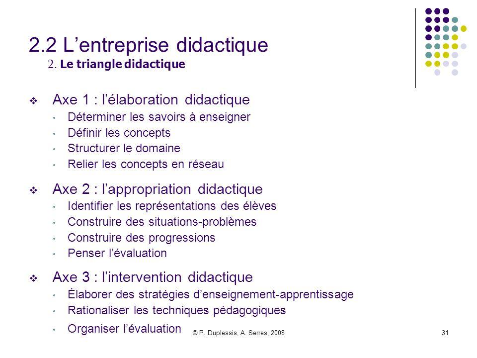 2.2 L'entreprise didactique 2. Le triangle didactique