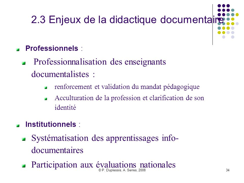 2.3 Enjeux de la didactique documentaire