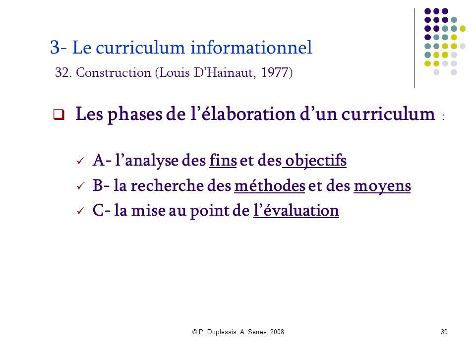Les phases de l'élaboration d'un curriculum :