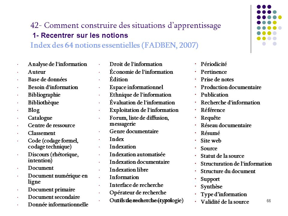 42- Comment construire des situations d'apprentissage 1- Recentrer sur les notions Index des 64 notions essentielles (FADBEN, 2007)