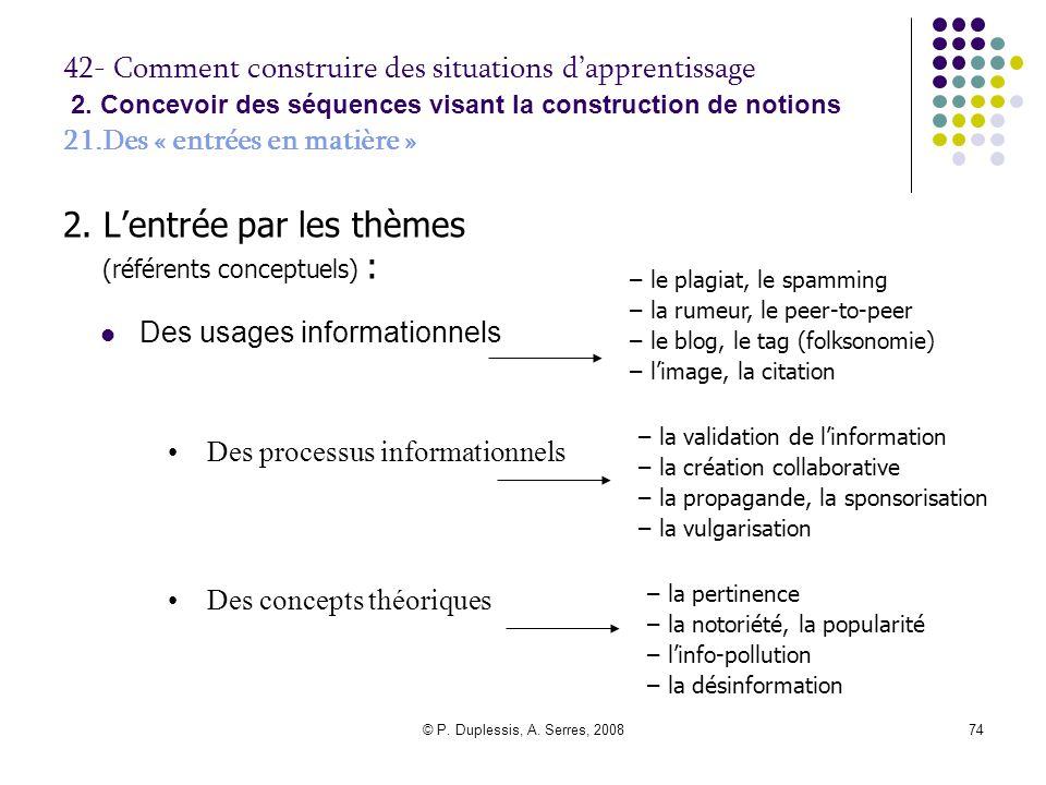 2. L'entrée par les thèmes (référents conceptuels) :
