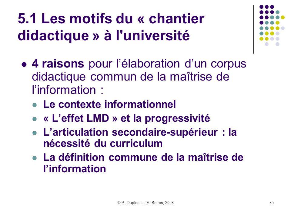 5.1 Les motifs du « chantier didactique » à l université